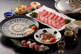 ◆ふぐ&宮崎牛会席◆新鮮な刺身が自慢!日本一の宮崎牛も味わえる人気のコース