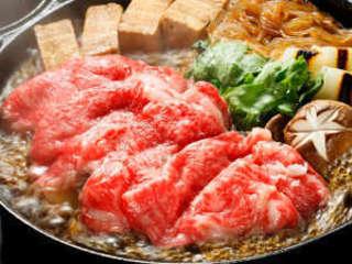 【旅館棟夕食_冬(12~3月)】上州牛のすき焼き。全食材群馬県産!※イメージ