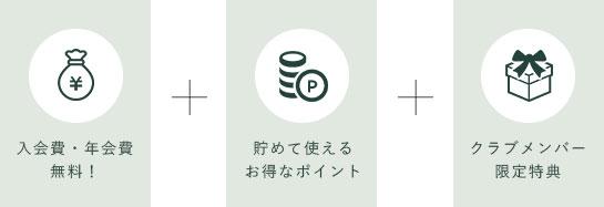 入会費・年会費無料!+貯めて使えるお得なポイント+クラブメンバー限定特典