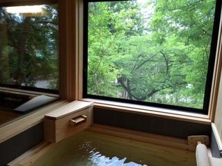 四季折々に遷り変わる景色を眺めながら「国産檜の半露天風呂」で湯ったり…