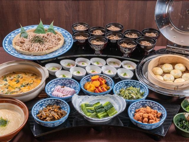 【朝食バイキング】信州そば・おやき・山形村とろろ・野沢菜など信州松本ならではのご当地グルメも♪
