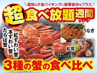 【超食べ放題WEEK!】 対象期間内はなんと!たらば蟹・本ずわい蟹・紅ずわい蟹の3種が食べ放題! 松茸・うなぎも登場します♪グレードアップしたバイキングをお楽しみ下さいませ。