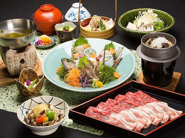 【コラボプラン】お肉とお魚を同時に楽しめるお得プラン(一例)(写真:お造り、しゃぶは2名様分)