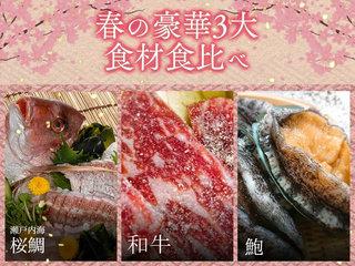 【4~6月】鯛・和牛・和牛を堪能!春の3大食材食べ比べプラン!