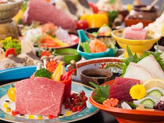 【基本会席】展望レストランゐきりで粋なご夕食~メインの鉄板焼を牛or魚介からチョイス~